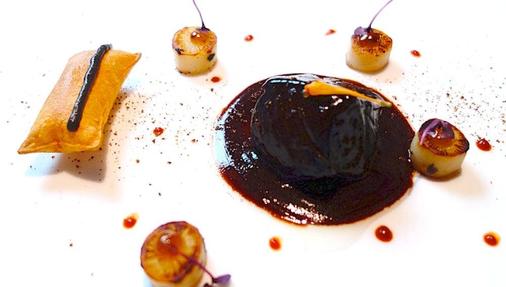 Uno de los platos de Diverxo, tres estrellas Michelín