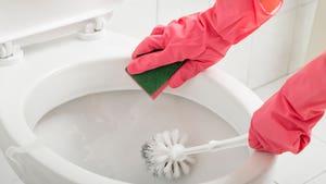 Limpiando inodoro