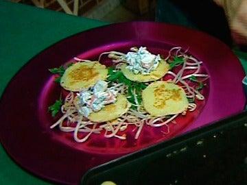 Tortitas como base para un entrante navideño