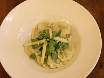 Raviolis de pera con gorgonzola