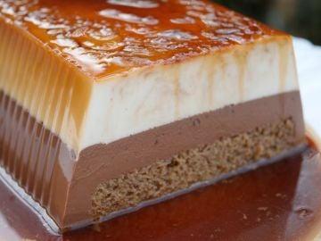 Esta es la brutal pinta del flan de chocolate blanco y negro de Bocados Divinos.