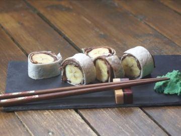 Sushi de Nutella y banana